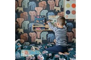 Nursery with elephant wallpaper