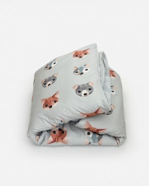 Forest animals duvet cover ice blue 100 x 135 cm