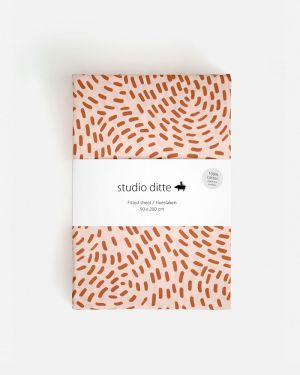 Fitted sheet flow - pink / rust brown