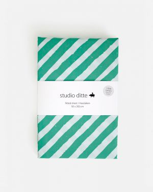 Fitted sheet stripes - green / light blue