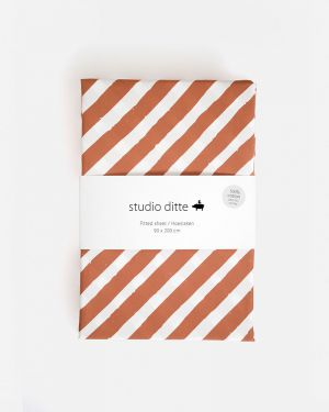 Fitted sheet stripes - rust brown