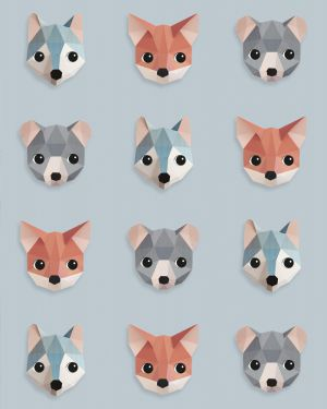 Forest animals wallpaper ice blue