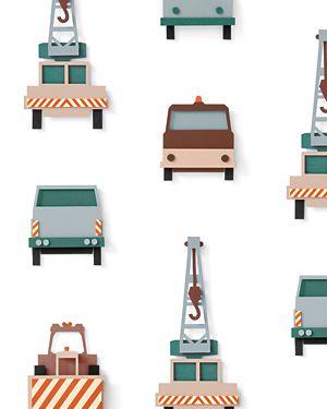 Crane truck wallpaper white