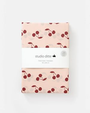 Fitted sheet cherries pink dark red 90 x 200 cm