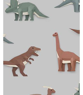 Dinosaur wallpaper light grey
