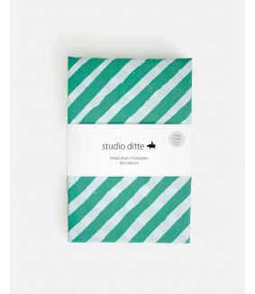 Fitted sheet stripes green light blue 90 x 200 cm