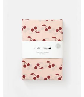 Fitted sheet cherries pink dark red 90 x 200 cm