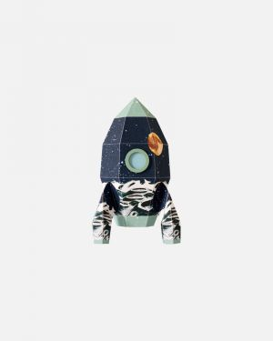 Rocket wall sticker moon - small