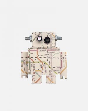 Robot wall sticker subway map - large