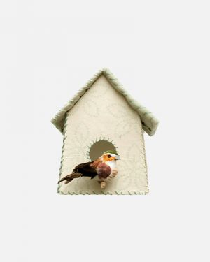 Birdhouse wall sticker flowers - large