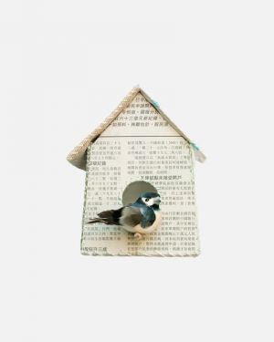 Birdhouse wall sticker newspaper - large