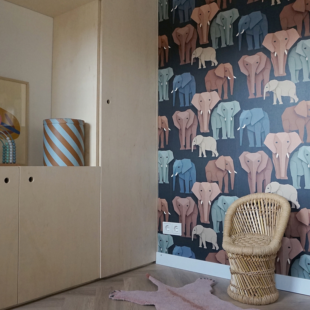 Playroom with elephant wallpaper